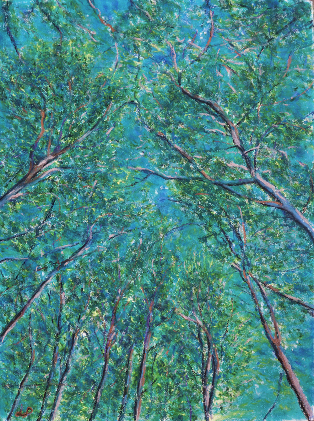 Cossonay forest no. 3. Oil pastel on paper, 75x60, 2016