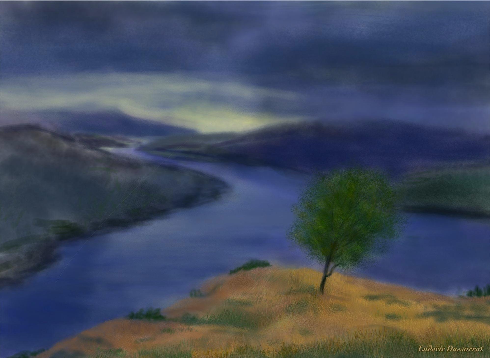 Loch Katrine. Digital painting, 51x70, 2015