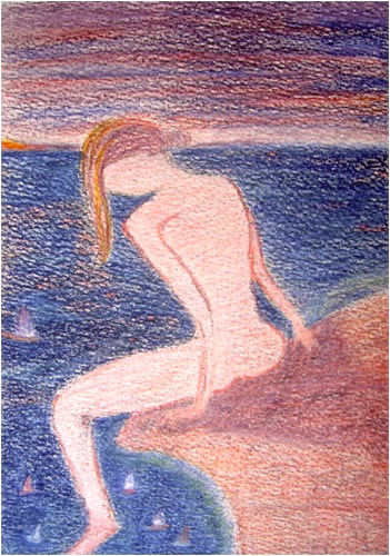 Femme au bord de la falaise. Watercolor pencils on paper, 15x21, 2011