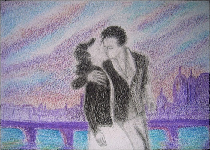 French kiss in London. Watercolor pencils on paper, 12x17, 2011