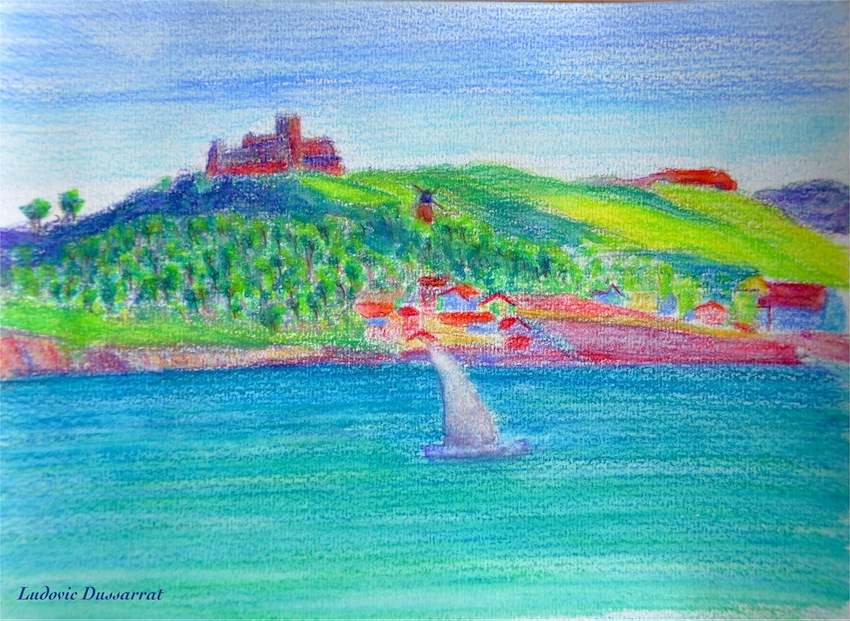 Collioure, vue sur le fort St Elme. Watercolor pencils on paper, 15x21, 2014