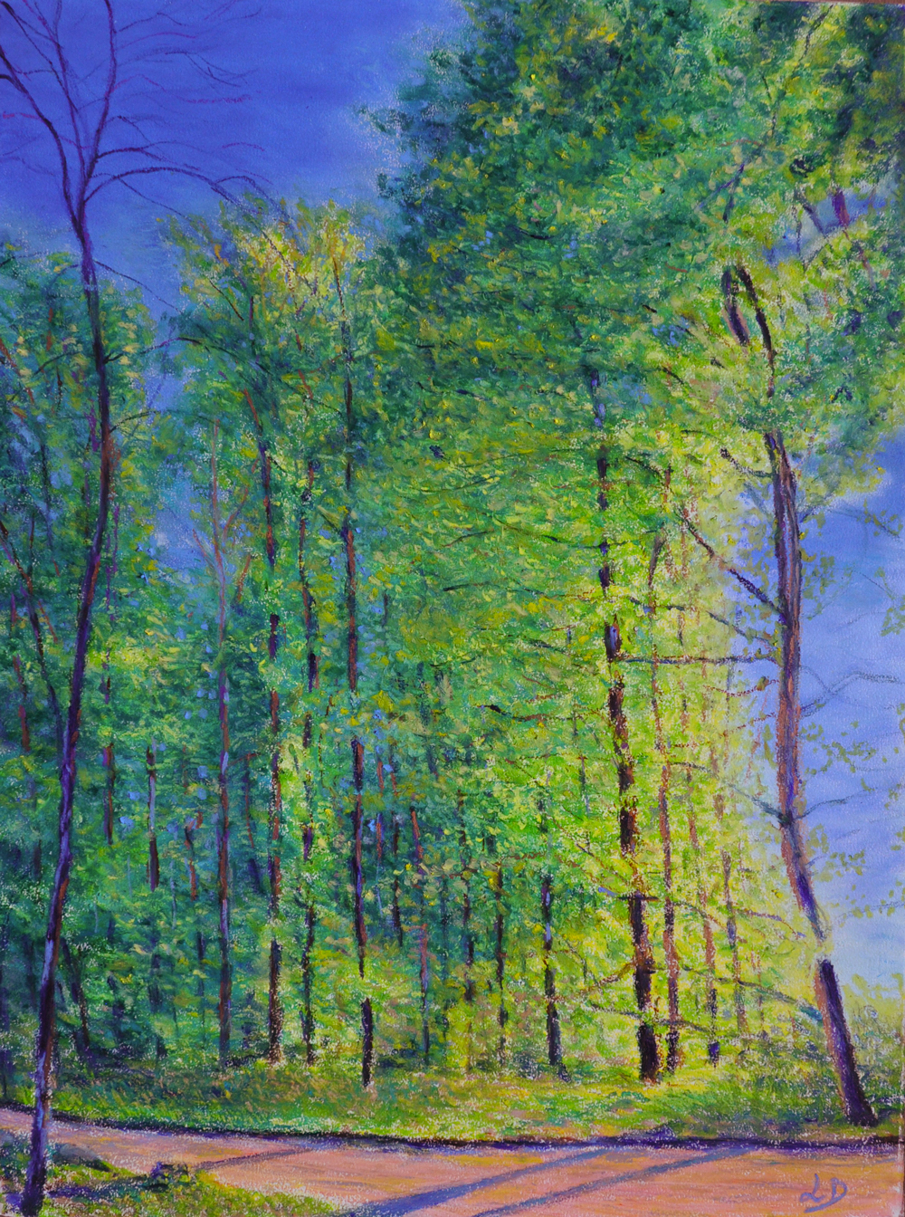 Cossonay forest no. 7. Oil pastel on paper, 75x60, 2016