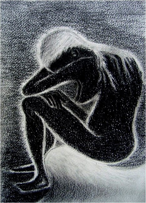 Sorrow. Charcoal on paper, 21x30, 2012