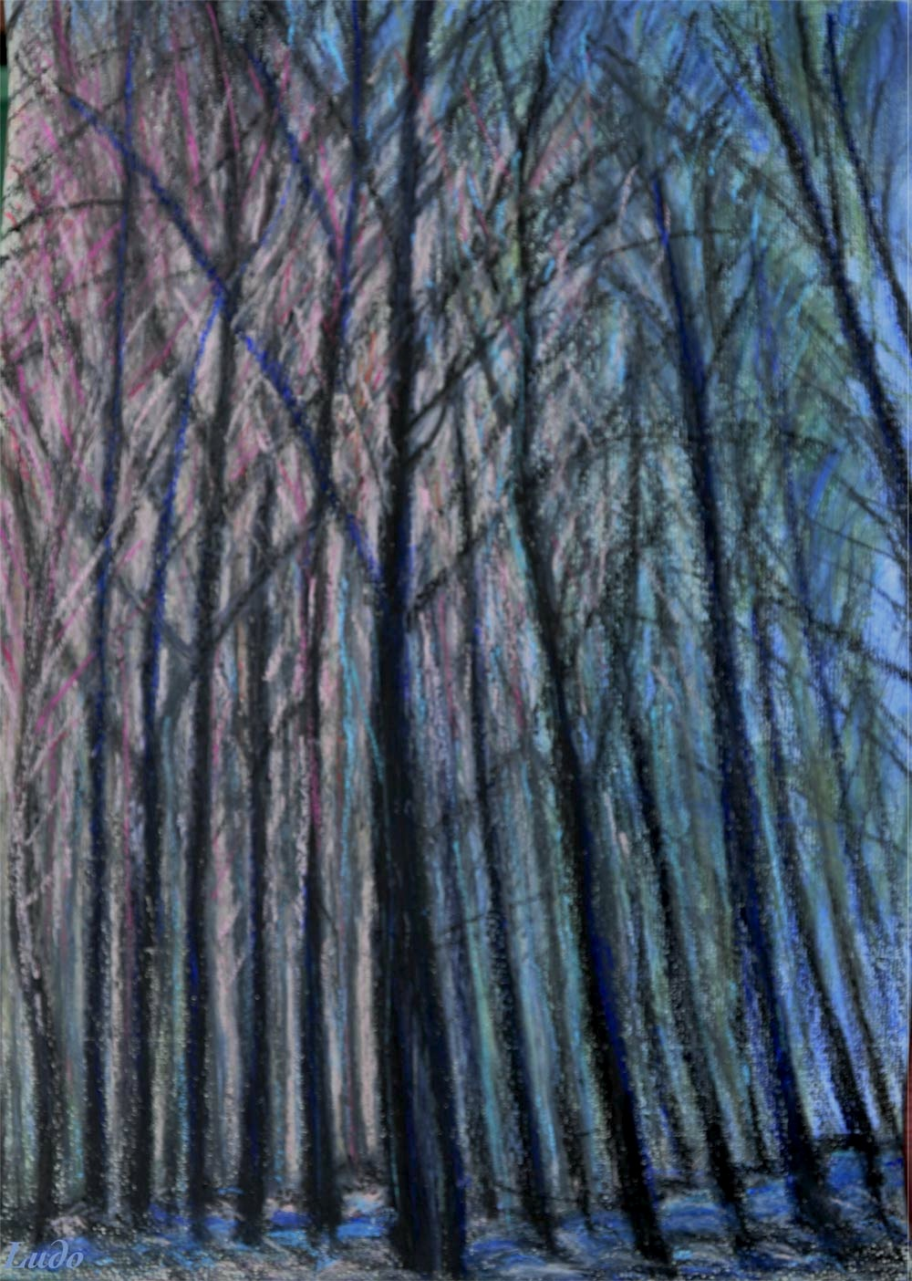 Lahonce forest no. 6. Oil pastel on paper, 42x30, 2015