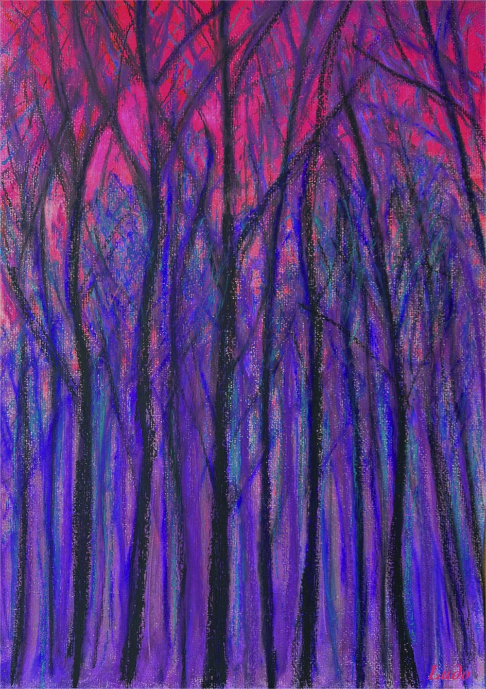 Lahonce forest no. 3. Oil Pastel &charcoal on paper, 42x30, 2015.