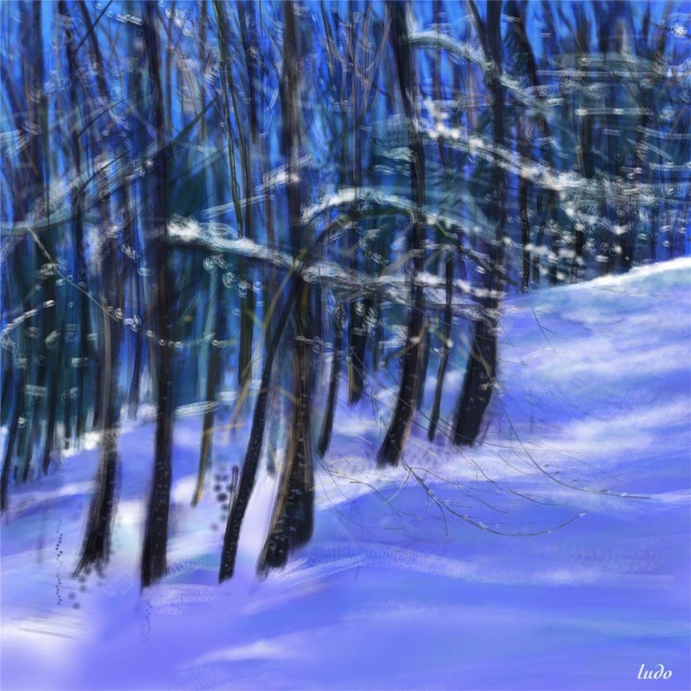 Barèges, forêt de l'Ayré. Peinture digitale, 72x72, 2015