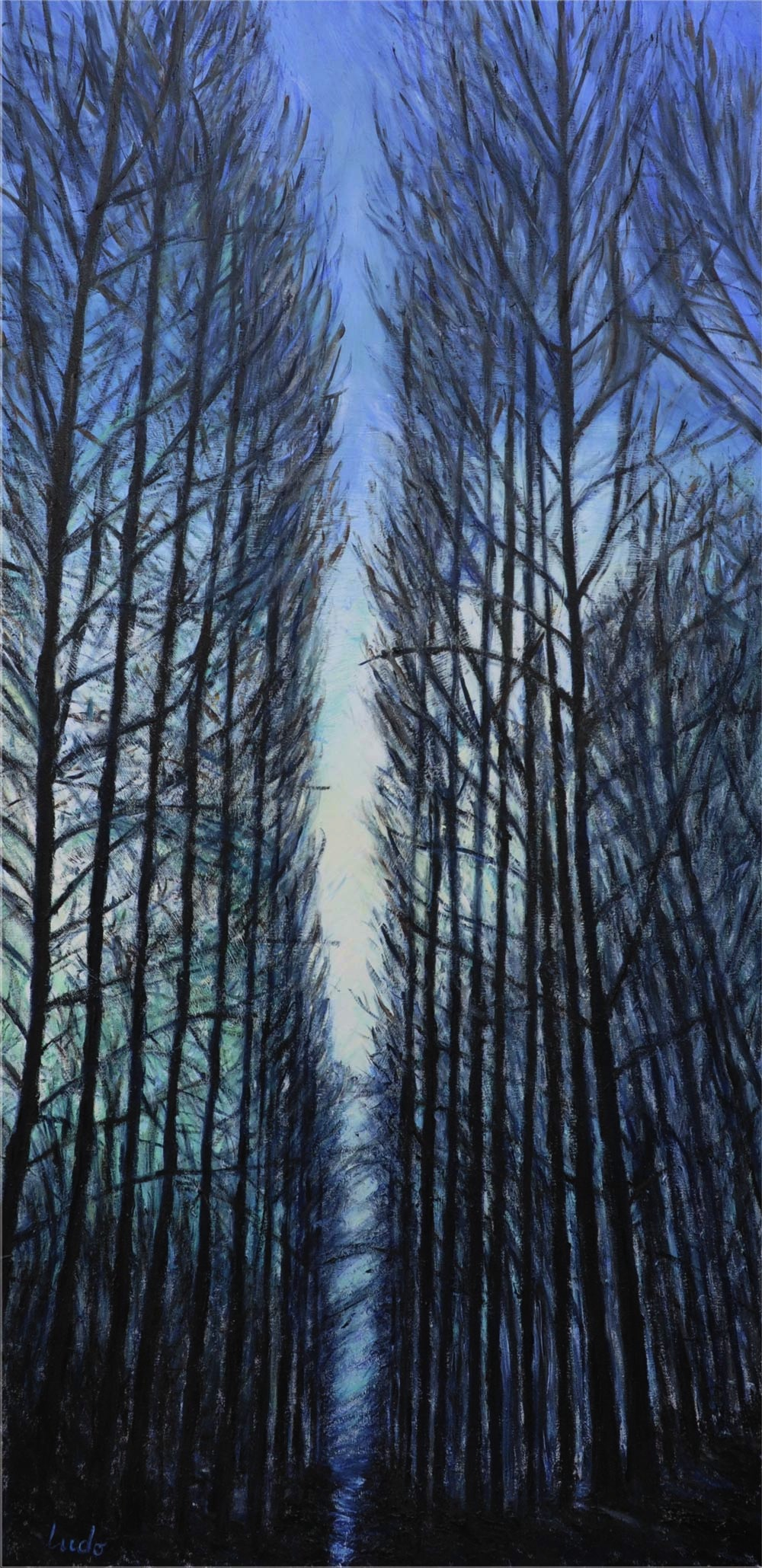 Lahonce forest in winter.  Oil on canvas, 100x50, 2015