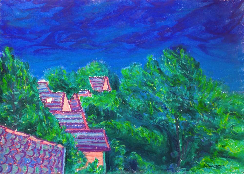Roofs of Chailly no. 3.  Oil pastel, 29x42, 2015