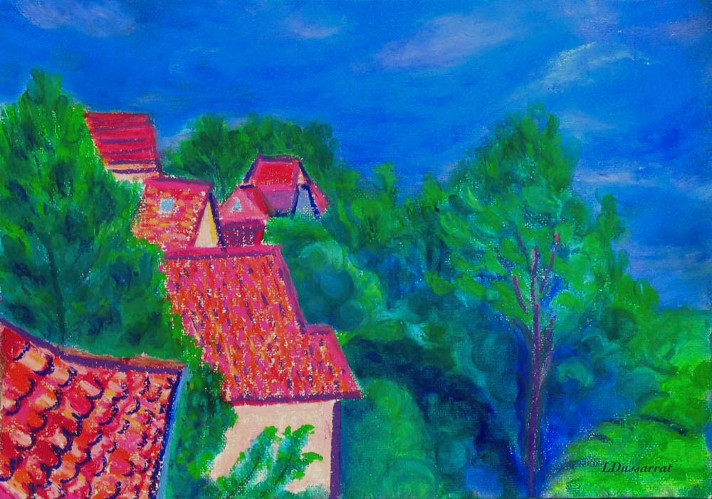 Roofs of Chailly no. 1. Oil pastel, 29x42, 2015