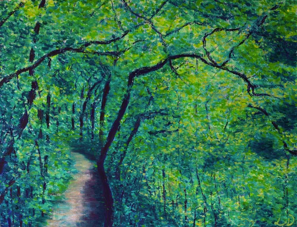 L' Allondon, forêt. Pastel à l'huile sur papier, 50x65, 2015