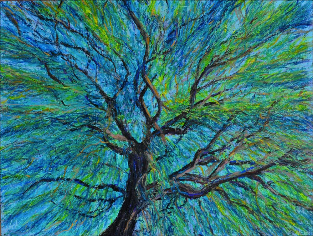 Weeping willow, Montreux. Oil pastel on paper, 42x56, 2015