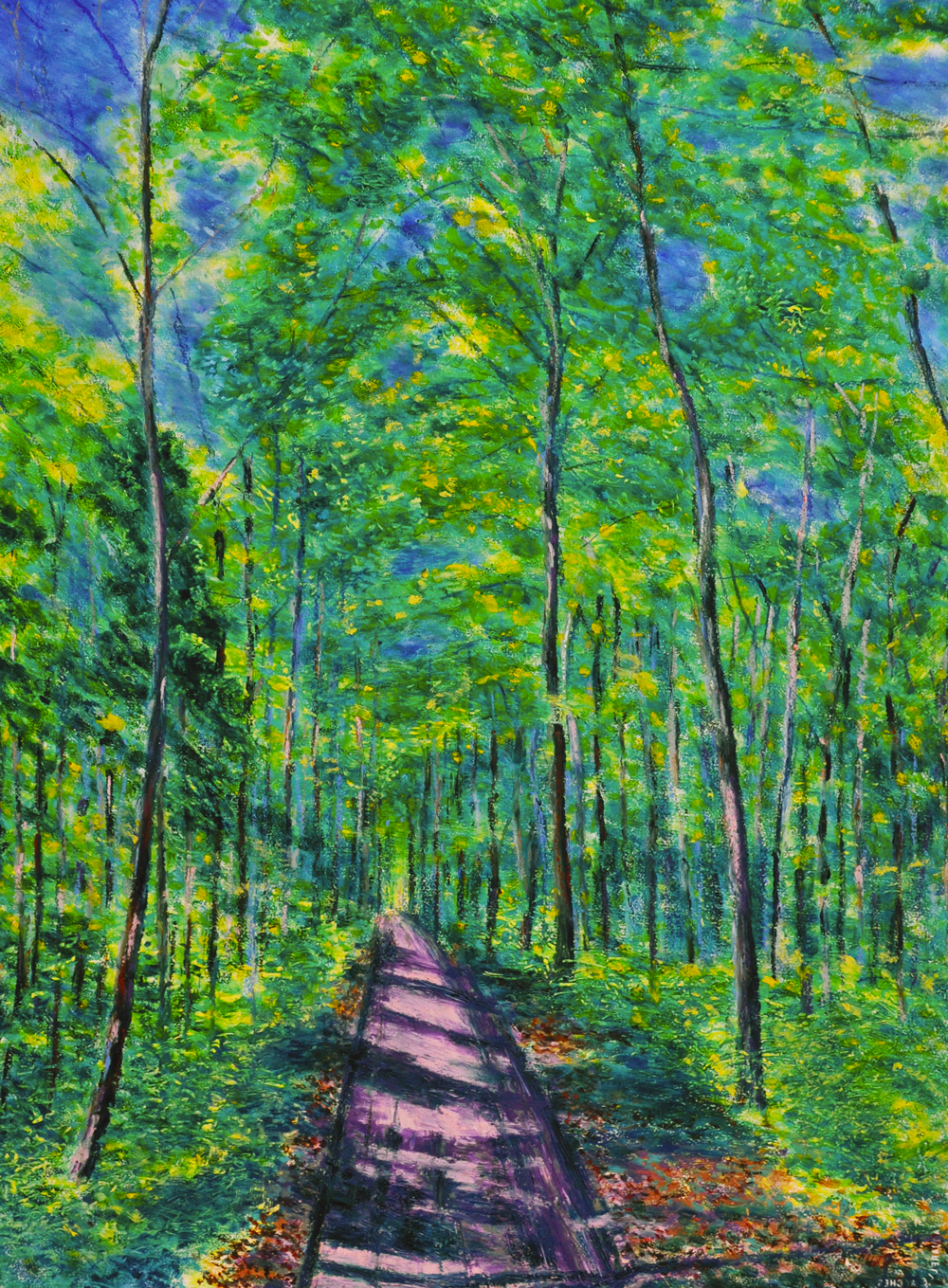 Cossonay forest no. 9. Oil pastel on paper, 75x60, 2016