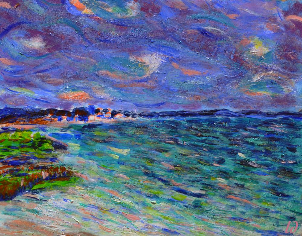 Bassin d'Arcachon, sentier du littoral. Acrylic on carton, 23x28, 2016