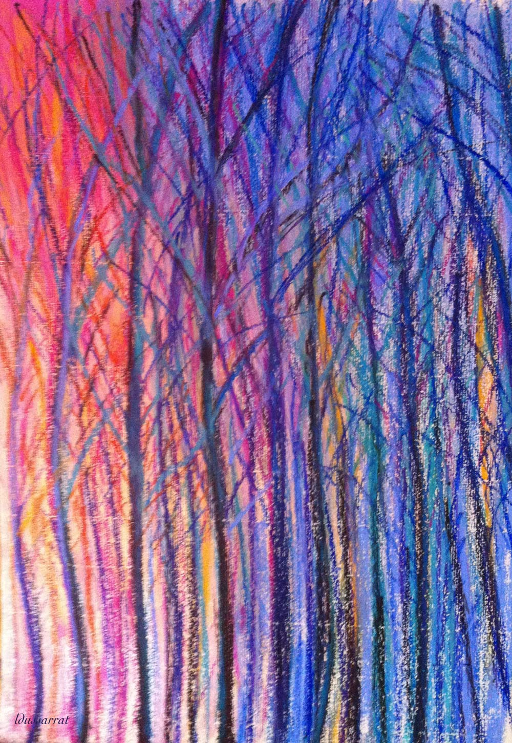 Lahonce forest no. 4. Oil pastel on paper, 42x30, 2015