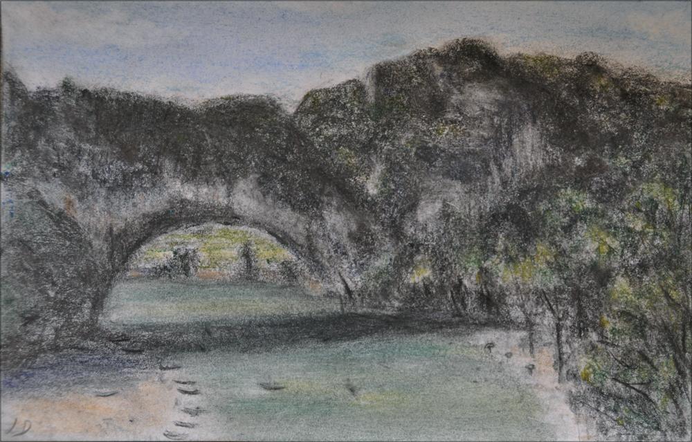 Pont d'Arc. Charcoal &dry pastel on paper, 16x24, 2016