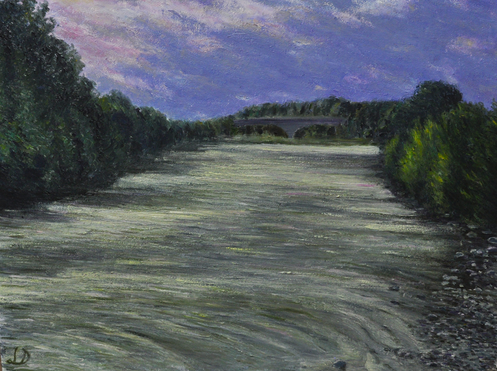 The river Drôme, Crest. Oil on paper, 60x75, 2016