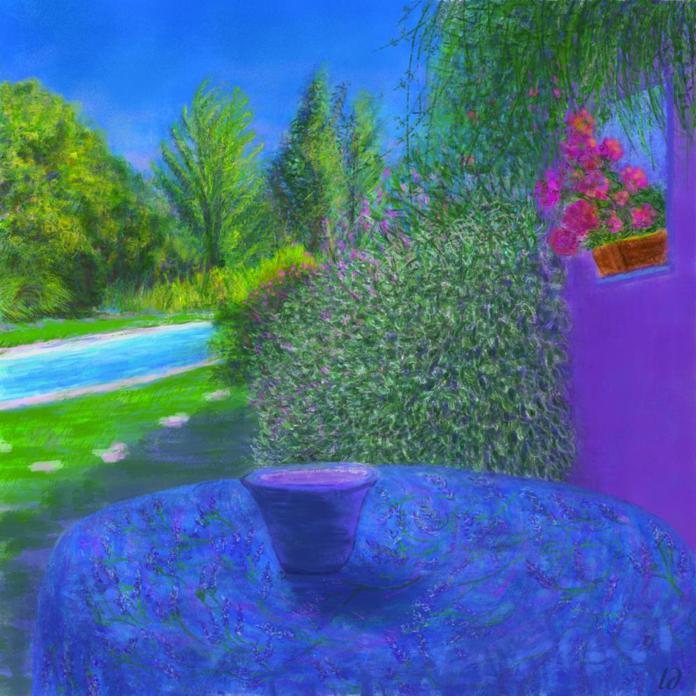 Crest, the garden. Digital painting. 40x40, 2017