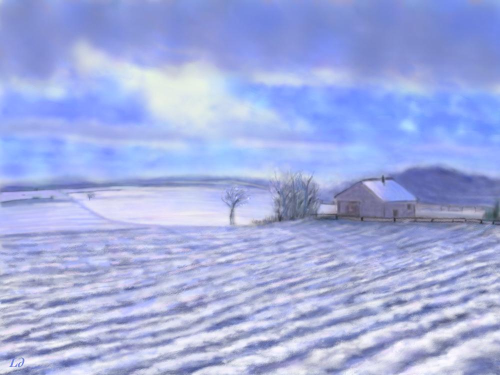 Champs sous la neige, Penthalaz. Peinture digitale, 54x72, 2017