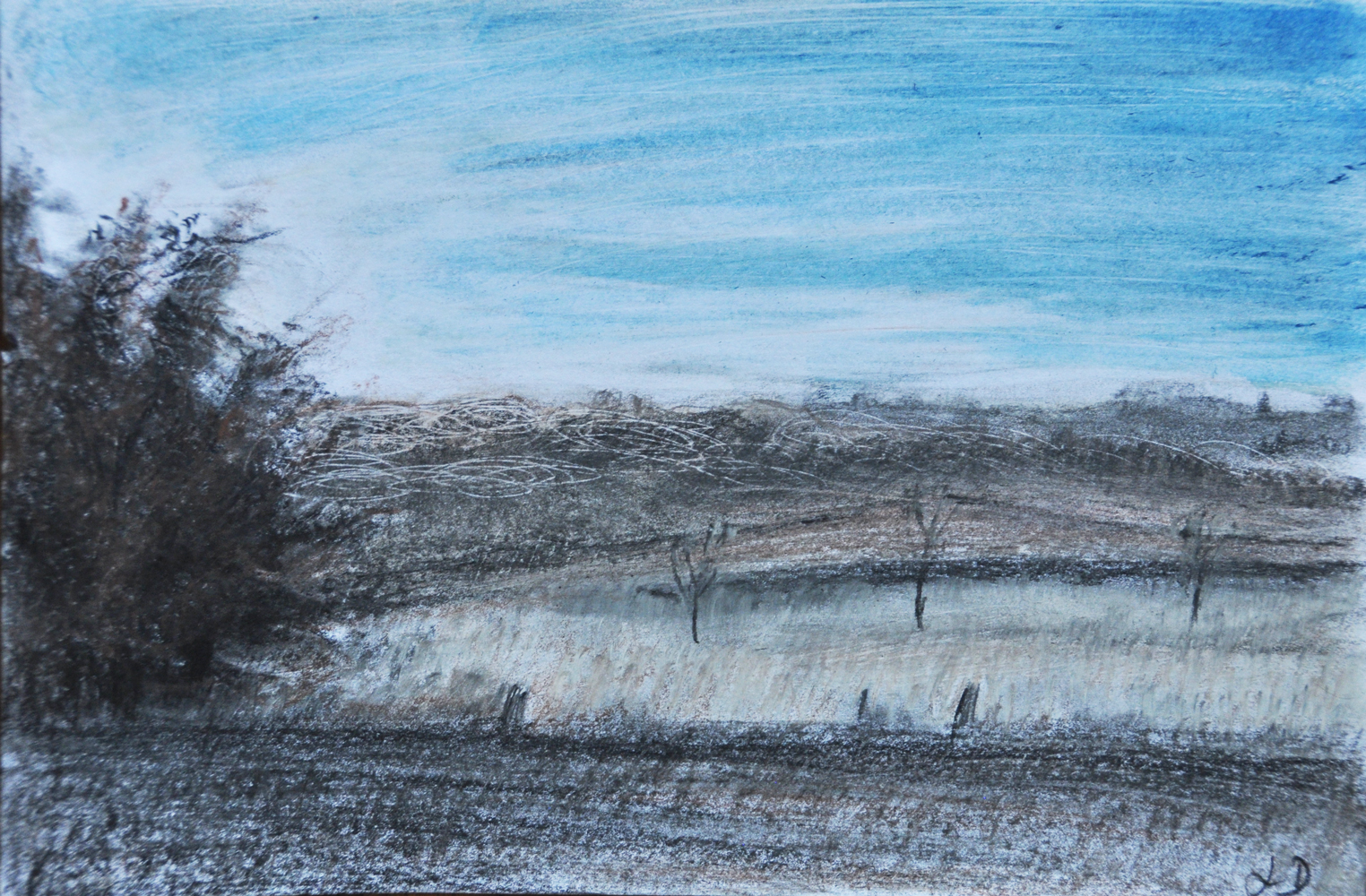 Fields, Penthalaz. Crayon &  oil on paper, 16x24, 2017