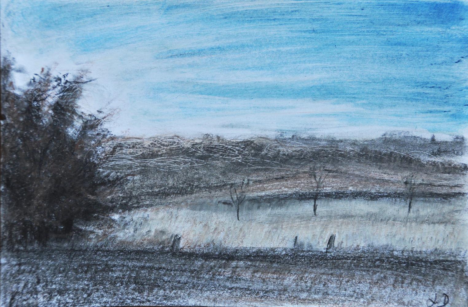 Fields, Penthalaz. Crayon &  oil on paper, 16x24, 2017