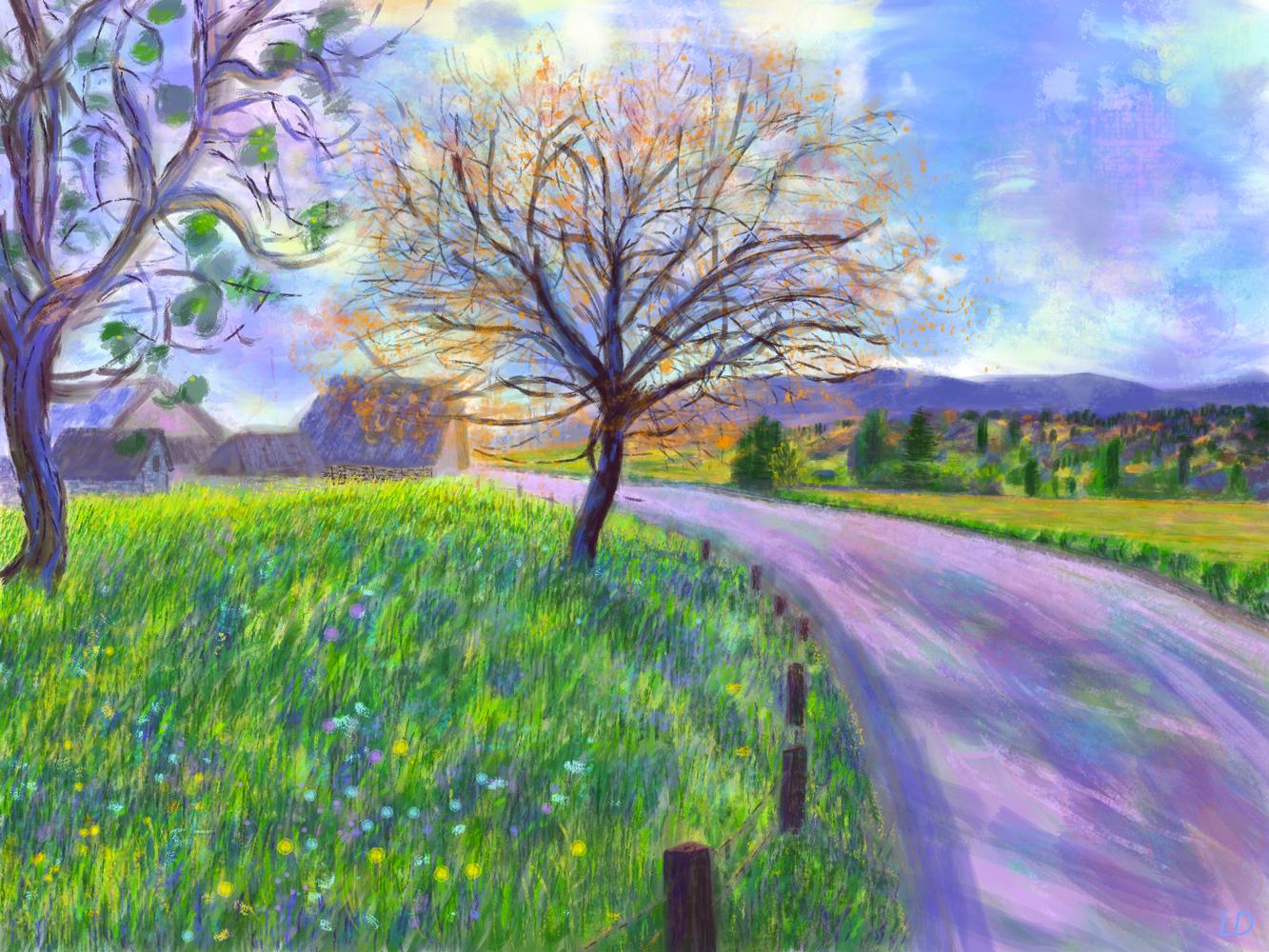 Fields, Penthalaz no. 2. Digital painting. 30x40, 2017