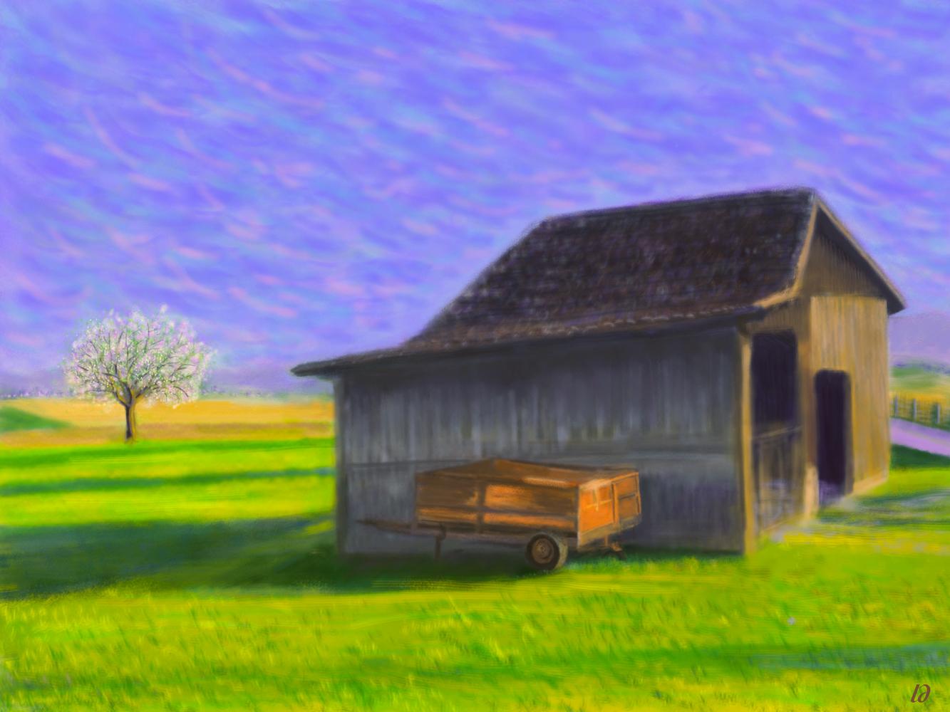 La remorque, Penthalaz. Digital painting, 54x72, 2017