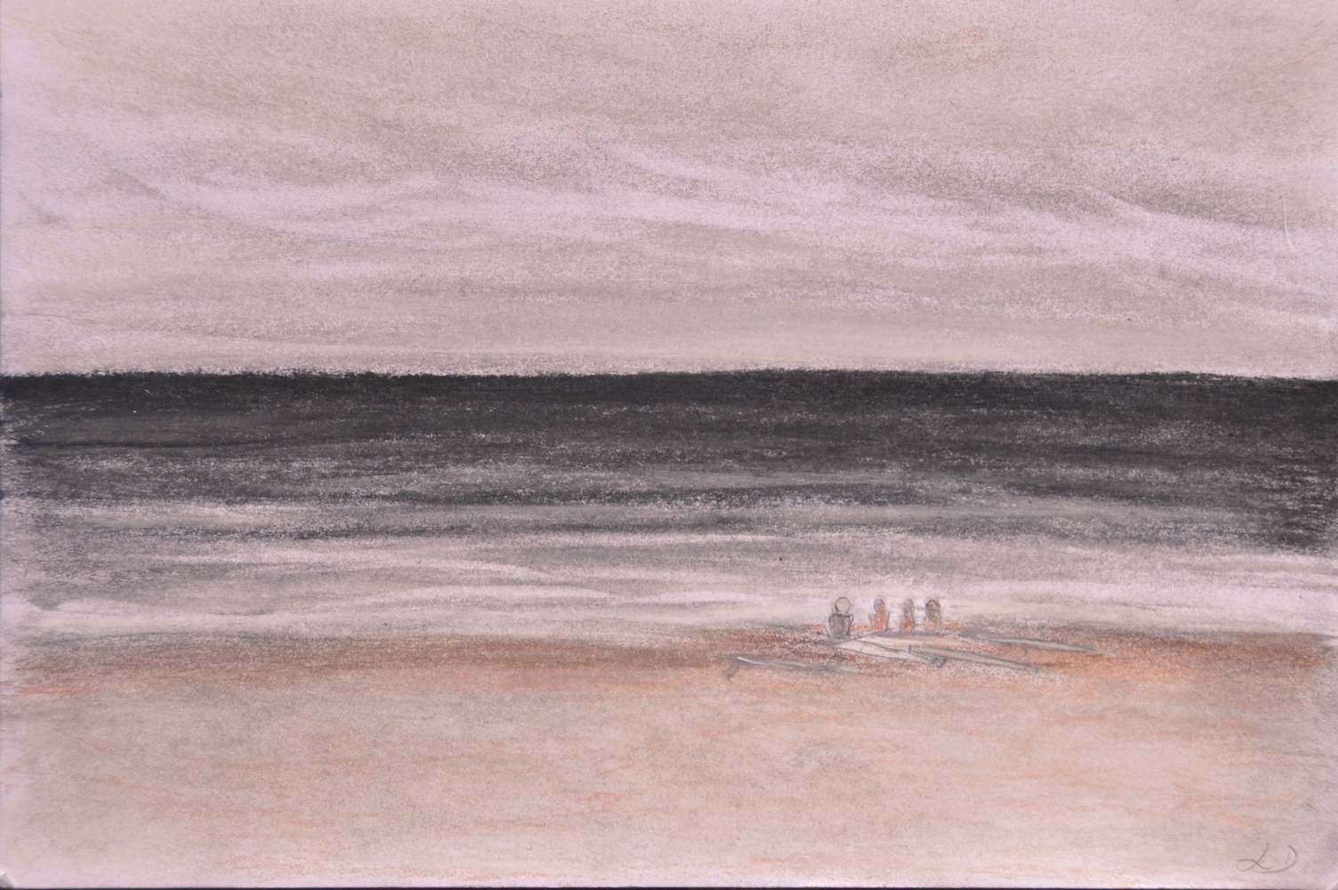 Waiting for the waves, plage du Metro. Sketch, crayon on paper, 16x24, 2017