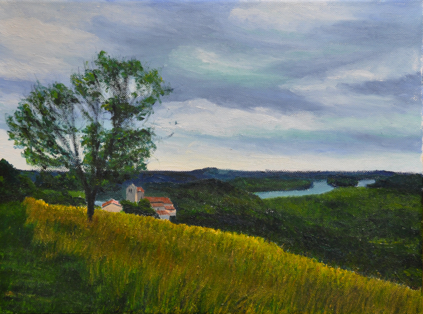 One evening in July, Lahonce. 20x30, 2014