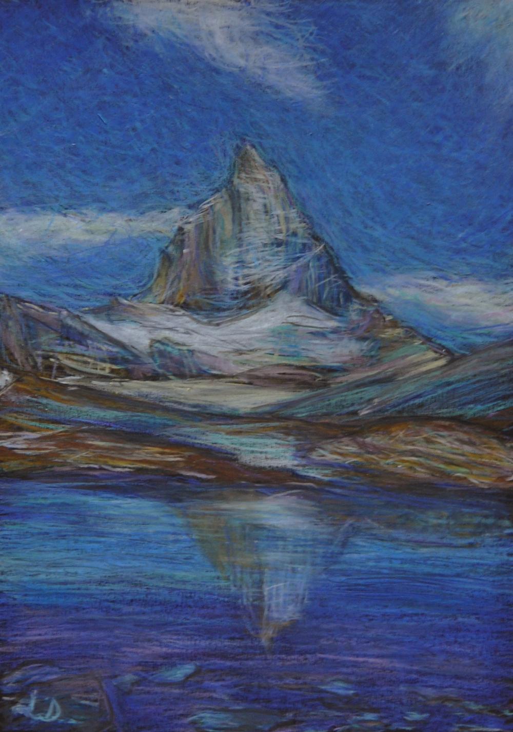 Matterhorn, from Trockener Steg.  Mixed media on paper, 30x20, 2018