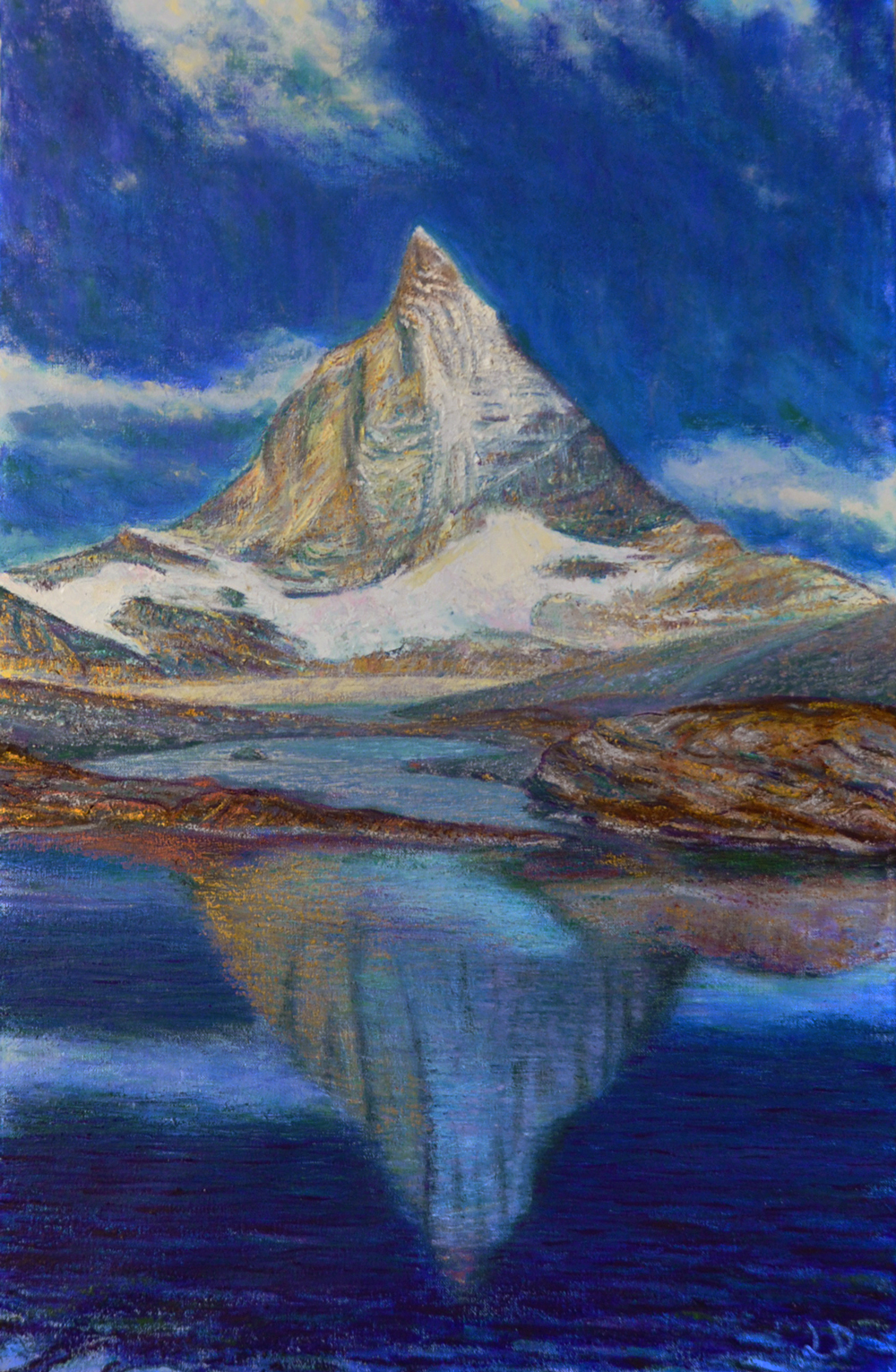 Matterhorn, from Trockener Steg. Oil on canvas, 100x60, 2018