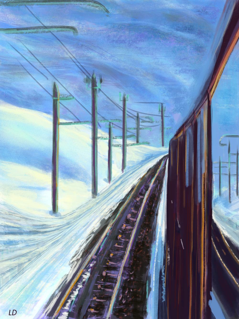 Richtung Gornergrat. Peinture digitale, 43x57, 2018