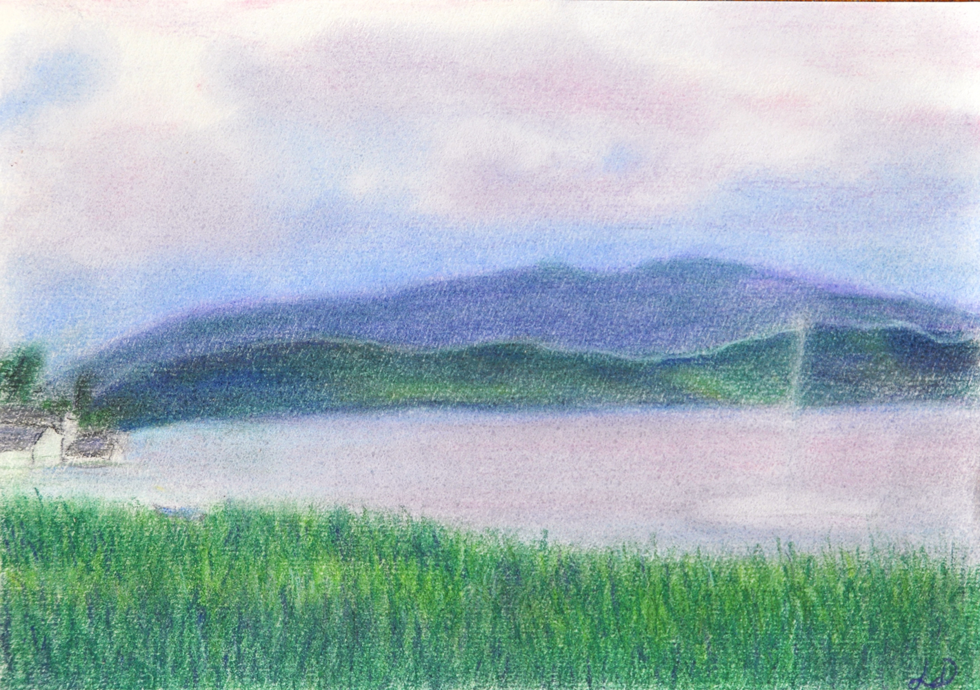Lake Zurich no. 1. Dry pastel on paper. 15x21, 2013