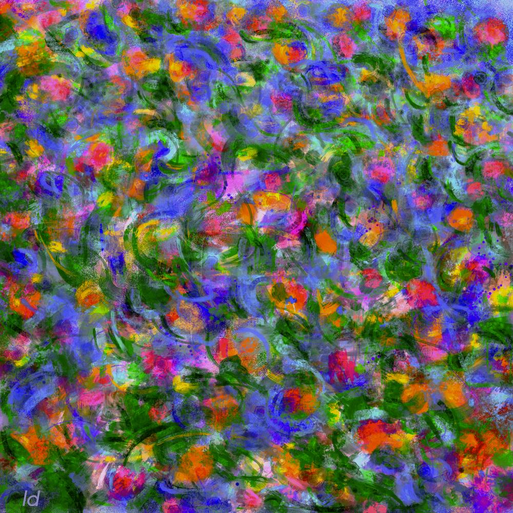 Drowning in summer feelings. Digital painting, 35x35, 2018
