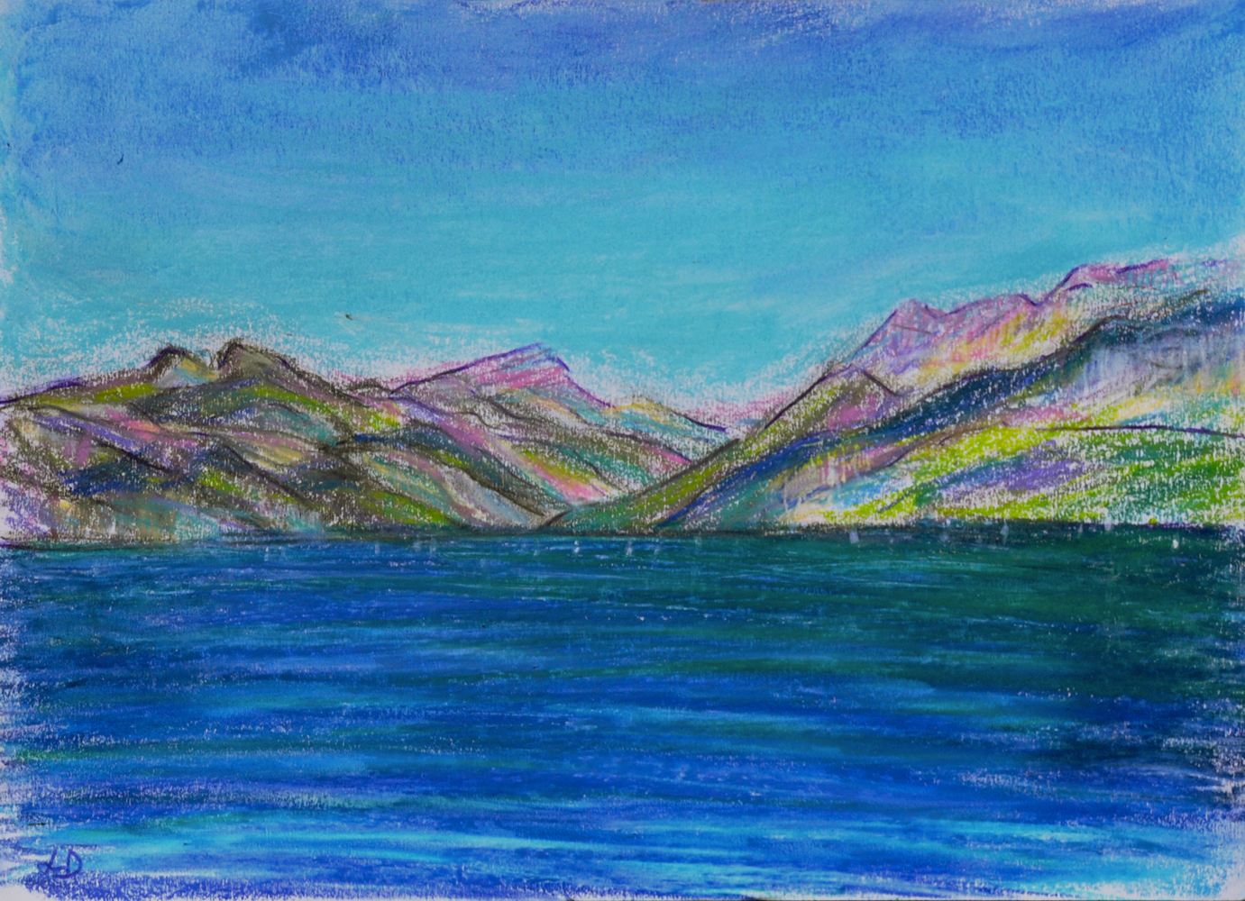 Lake Geneva, St Prex no. 3. Mixed media on paper, 21x30, 2018