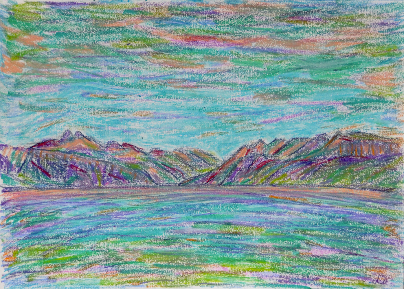 Lake Geneva, St Prex no. 7. Mixed media on paper, 21x30, 2018