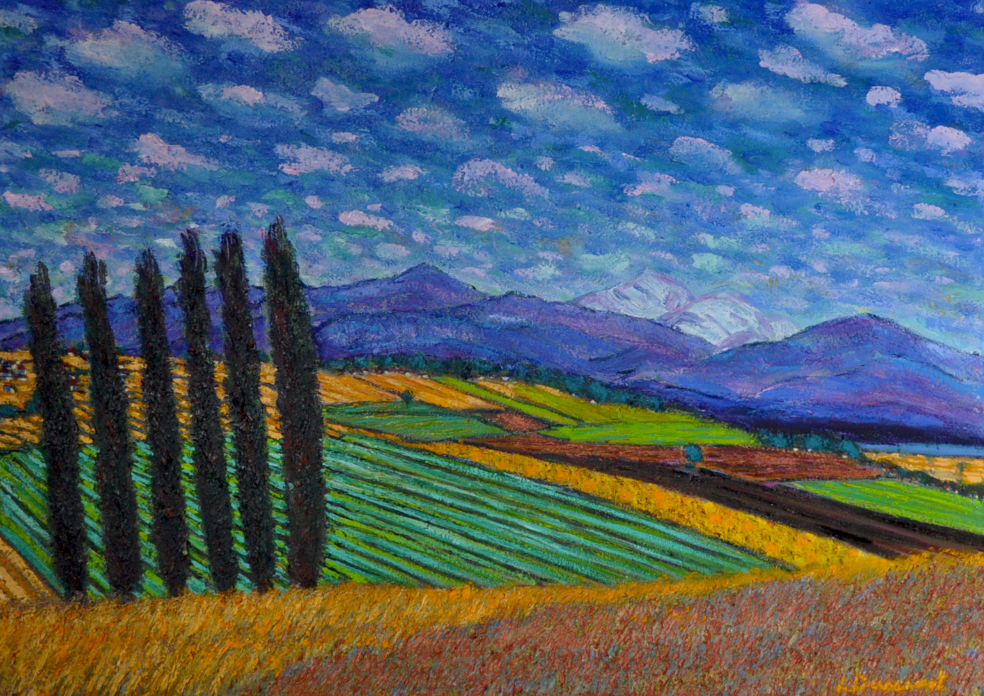 Mont-Blanc, seen from Penthalaz. Oil on canvas, 50x70, 2018