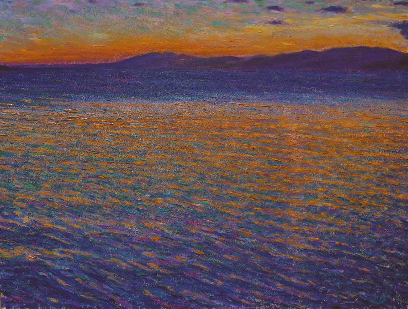 Lake Geneva (seen from Lutry).  Oil on paper, 60x75, 2016