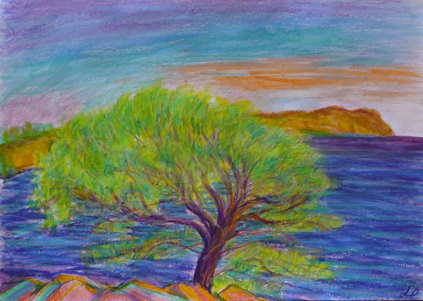 Cassis, les calanques no. 1, sketch. Watercolor wax pastel on paper, 21x30, 2018