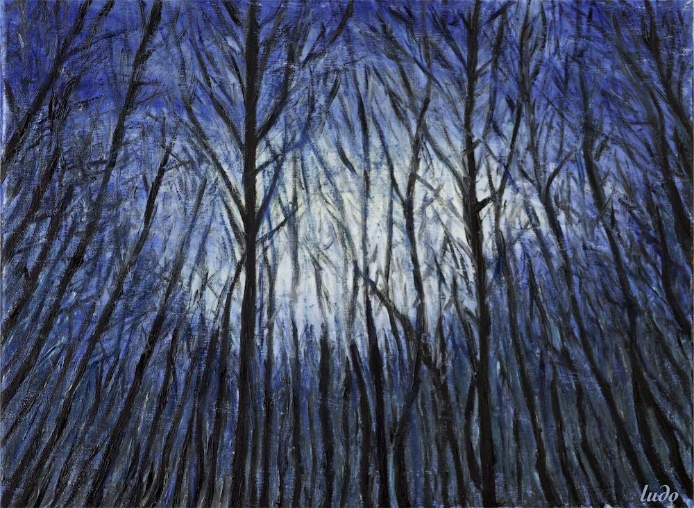 Forêt en hiver, Lahonce, no.2. Huile sur toile, 30x40, 2015