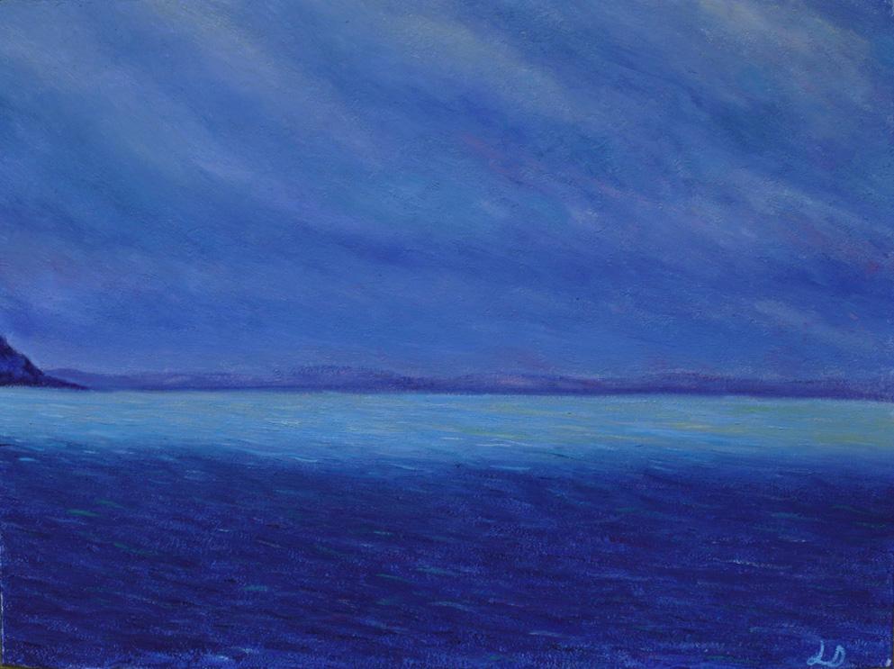 Lac Léman, vu depuis Montreux. Huile sur papier. 60x75, 2016