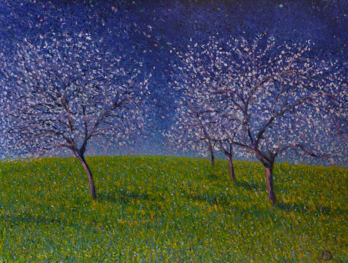 Cerisiers en fleurs, Penthalaz. Huile sur papier, 56x76, 2017