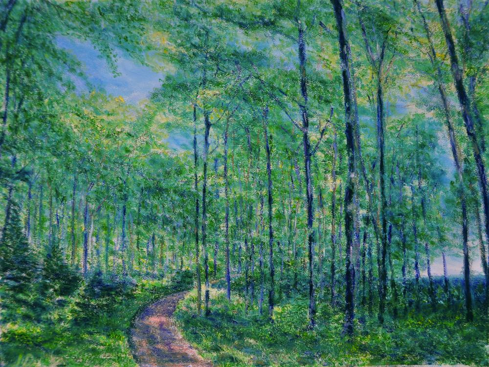 Forêt, Cossonay, no. 6. Pastel à l'huile sur papier, 60x75, 2016
