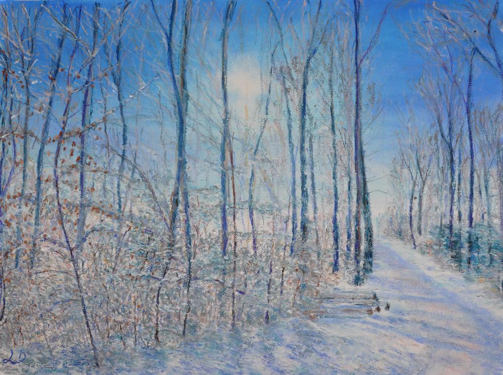 Forêt, Cossonay, no. 4. Pastel à l'huile sur papier, 60x75, 2016