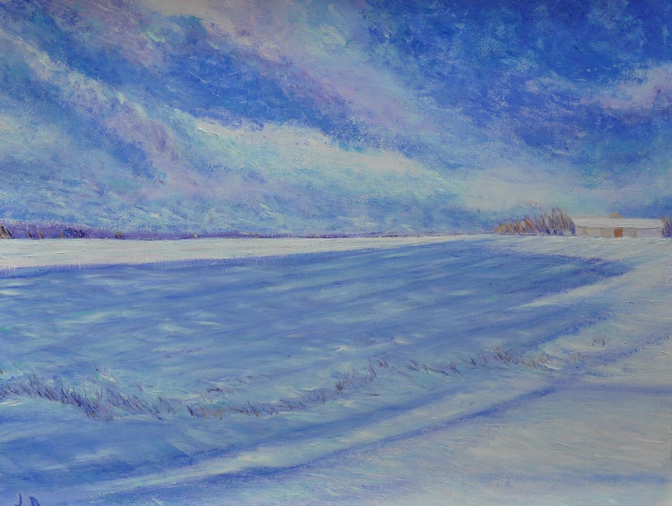 Champs en hiver, Penthalaz, no. 1. Huile sur papier, 56x76, 2017