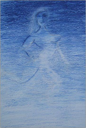 L'amazone bleue. Crayon de couleur sur papier, 12x17, 2011