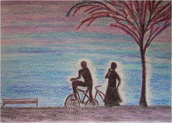 Anglet sunset. Crayon aquarellable sur papier, 12x17, 2011