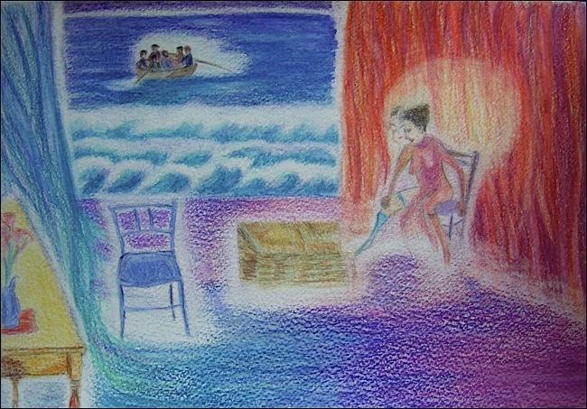 Complicité et rupture. Crayon aquarellable sur papier, 21x30, 2011