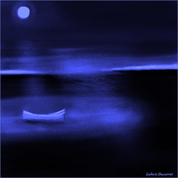 La barque touchée par la nuit. Peinture digitale, 21x21, 2013