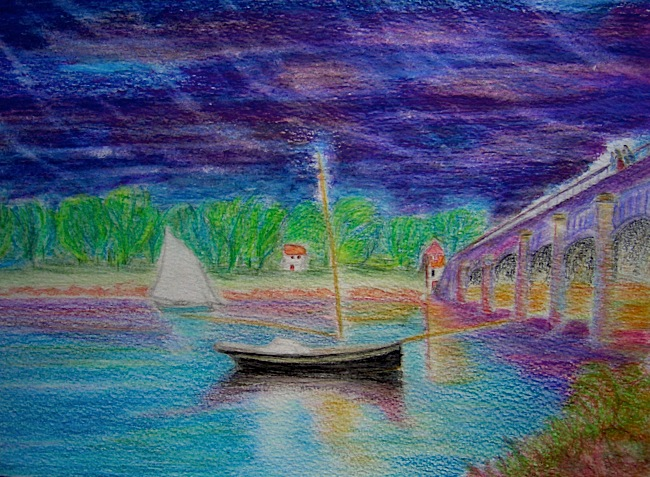 La Seine à Argenteuil. Crayon aquarellable sur papier, 21x30, 2011