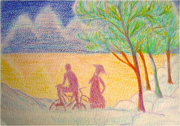The golden lake. Crayon aquarellable sur papier, 15x21, 2011